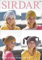 Sirdar Wash 'n Wear Double Crepe - 7818 Hats Knitting Pattern